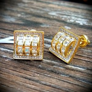 14k GP Iced Out Slot Style Super Bling Earrings